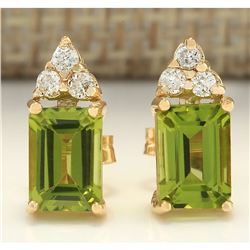 2.75 CTW Natural Peridot And Diamond Earrings 18K Solid Yellow Gold
