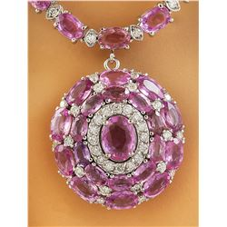 37.80 CTW Sapphire 18K White Gold Diamond Necklace