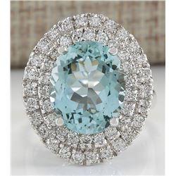 7.44 CTW Natural Blue Aquamarine Diamond Ring 18K Solid White Gold