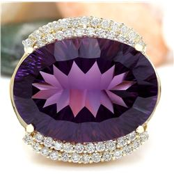 36.79 CTW Natural Amethyst 14K Solid Yellow Gold Diamond Ring
