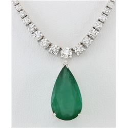 10.83 CTW Natural Emerald And Diamond Necklace In 14K White Gold