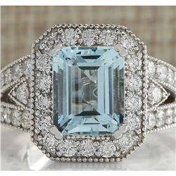 4.67 CTW Natural Aquamarine And Diamond Ring In 18K Solid White Gold