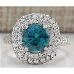 5.94 CTW Natural Blue Zircon And Diamond Ring 14K Solid White Gold