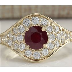 2.32 CTW Natural Ruby And Diamond Ring In 14K Yellow Gold