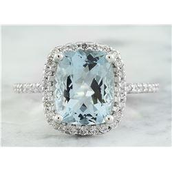 4.30 CTW Aquamarine 18K White Gold Diamond Ring