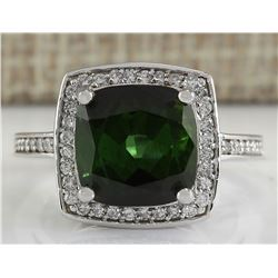 7.22 CTW Natural Tourmaline And Diamond Ring 18K Solid White Gold