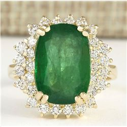 6.69 CTW Natural Emerald And Diamond Ring In 14k Yellow Gold