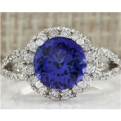 3.49 CTW Natural Blue Tanzanite And Diamond Ring In 14K White Gold Aaa