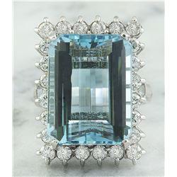 28.80 CTW Aquamarine 18K White Gold Diamond Ring