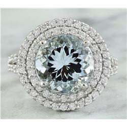 5.55 CTW Aquamarine 14K White Gold Diamond Ring