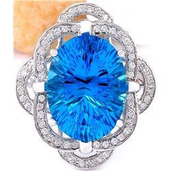 12.00 CTW Natural Topaz 14K Solid White Gold Diamond Ring