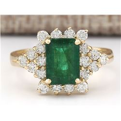 2.05 CTW Natural Emerald And Diamond Ring In 18K Yellow Gold