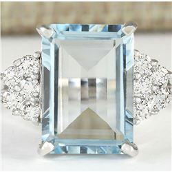 6.16 CTW Natural Aquamarine And Diamond Ring In 18K White Gold