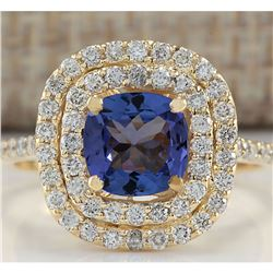 2.00 CTW Natural Blue Tanzanite And Diamond Ring 18K Solid Yellow Gold