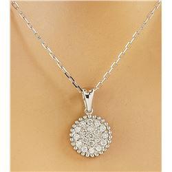0.22 CTW Diamond 18K White Gold Medallion Pendant Necklace