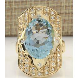 7.35 CTW Natural Aquamarine And Diamond Ring In 14K Yellow Gold