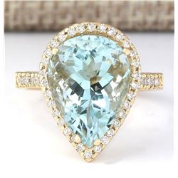 7.74 CTW Natural Blue Aquamarine And Diamond Ring In 18K Yellow Gold