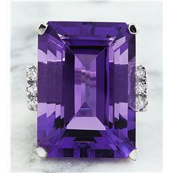 30.25 CTW Amethyst 18K White Gold Diamond Ring
