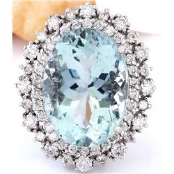 13.37 CTW Natural Aquamarine 14K Solid White Gold Diamond Ring