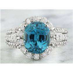 9.32 CTW Zircon 18K White Gold Diamond Ring
