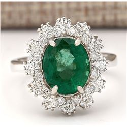 4.20 CTW Natural Emerald And Diamond Ring In 18K White Gold