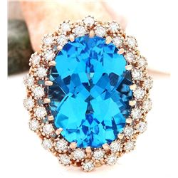 19.21 CTW Natural Topaz 18K Solid Rose Gold Diamond Ring