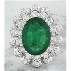 8.20 CTW Emerald 18K White Gold Diamond Ring