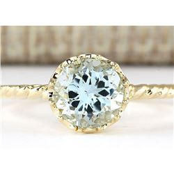 1.50 CTW Natural Aquamarine Ring In 14k Yellow Gold