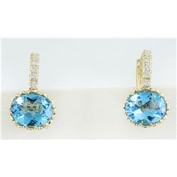 4.40 CTW Topaz 18K Yellow Gold Diamond earrings