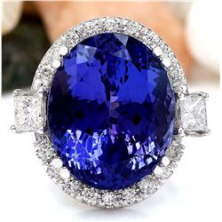 22.92 CTW Natural Tanzanite 18K Solid White Gold Diamond Ring