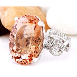 11.30 CTW Natural Morganite 14K Solid White Gold Diamond Ring
