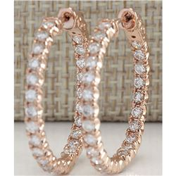 2.20 CTW Natural Diamond Hoop Earrings 18K Solid Rose Gold