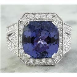 10.70 CTW Tanzanite 14K White Gold Diamond Ring