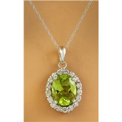 2.00 CTW Peridot 18K White Gold Diamond Necklace