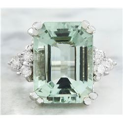 10.00 CTW Aquamarine 18K White Gold Diamond Ring