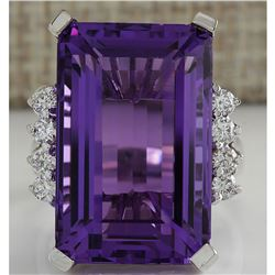 20.85 CTW Natural Amethyst And Diamond Ring In 18K Solid White Gold