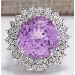 21.95 CTW Natural Kunzite And Diamond Ring 18K Solid White Gold