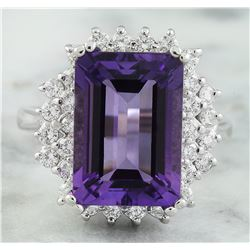 7.50 CTW Amethyst 18K White Gold Diamond ring