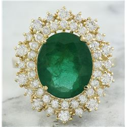 5.93 CTW Emerald 18K Yellow Gold Diamond Ring