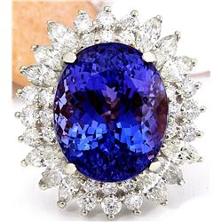 18.15 CTW Natural Tanzanite 14K Solid White Gold Diamond Ring