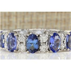 6.94 CTW Natural Tanzanite And Diamond Ring In 18K White Gold