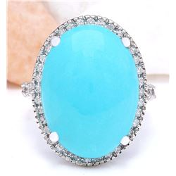 19.72 CTW Natural Turquoise 14K Solid White Gold Diamond Ring