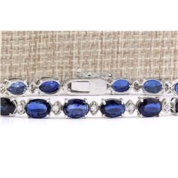 16.97 CTW Natural Sapphire And Diamond Bracelet In 14k Solid White Gold