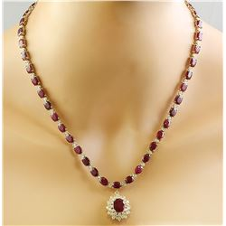 46.40 CTW Ruby 14K Yellow Gold Diamond Necklace