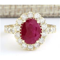 3.33 CTW Natural Ruby And Diamond Ring In 18K Yellow Gold