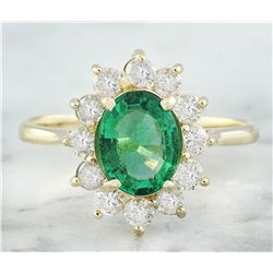 1.76 CTW Emerald 14K Yellow Gold Diamond Ring