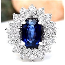 4.16 CTW Natural Sapphire 18K Solid White Gold Diamond Ring