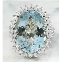13.16 CTW Aquamarine 18K White Gold Diamond Ring
