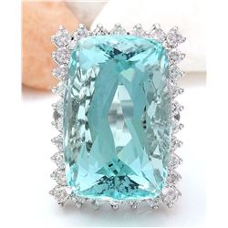 38.57 CTW Natural Aquamarine 14K Solid White Gold Diamond Ring
