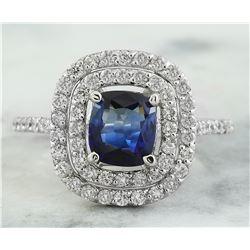 2.23 CTW Sapphire 18K White Gold Diamond Ring